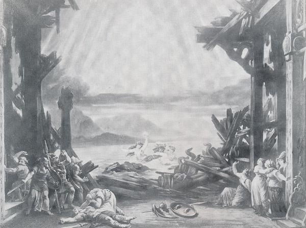 MVRW-BAYREUTH-1876-DECORS-LE-CREPUSCULE-DES-DIEUX-acte-III-Scene-finale