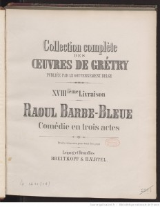 MVRW Barbe Bleue Gretry