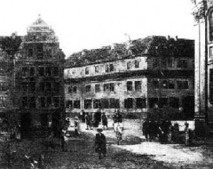 Le bâtiment de la Kreuzschule de Dresde (ici à la fin du XIXème siècle)
