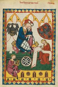 Reinmar von ZWETER (v.1200-v.1248) dans le Codex de Manesse (14ème siècle)