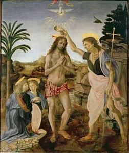 Le baptème de Jésus peint par Verrochio